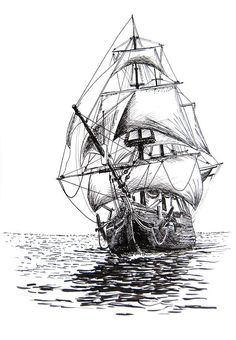 117 Best Ship drawing images in 2019 Pirate Ship Drawing, Boat Drawing, Art Sketches, Art Drawings, Tattoo Sketches, Old Sailing Ships, Tattoo Set, Tattoo Small, Tattoo Pics