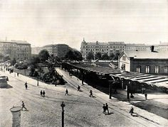 """Berlin, Wassertorplatz in Kreuzberg, 1900 Construction works on the first subway-line of Berlin - the U1 - are underway in this picture. Actually """"subway"""" is a little misleading, as the line runs above earth for most of the time. It was opened in 1902 and is still in operation today with minor changes to its path."""