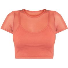 Marita Deep Peach Mesh Cropped 2 in 1 T Shirt (2870 DZD) ❤ liked on Polyvore featuring tops, crop top, shirts, blusas, red shirt, red crop shirt, red top, mesh crop top and peach top
