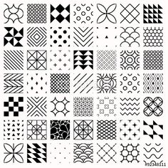 Vector: Set of geometric seamless patterns, triangles, lines, circles. Black and white different background