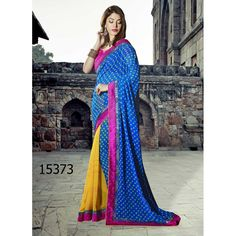 Designer Georgette Embroidered Party Wear Blue & Yellow Saree - 15373 ( ML - 895 )