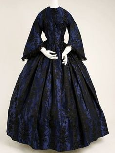 Black and Blue Lace Gothic Victorian Dress