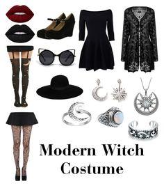 """Modern Witch Costume"" by spookyfinn ❤ liked on Polyvore featuring Bonnibel, Jonathan Simkhai, Maison Michel, Lime Crime, Pamela Mann, Amrita Singh, Carolina Glamour Collection, Rock 'N Rose, ZooShoo and Primrose"