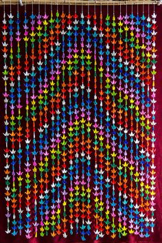 1000 Origami Cranes  Vibrant Multi Colored Hanging  by kcstudio1