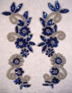 Blue & Silver  Mirror Pair Sequin Beaded Appliques 0183   (0183-BLSL). $13.99, via Etsy.