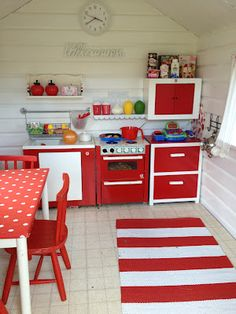The red & white makes a change from pastel, especially when a boy and a girl will be using the playhouse