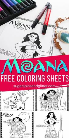 Grab these Free Moana Coloring Sheets for your next family movie night, road trip or a Moana Birthday Party activity (or goodie bag item) Moana Coloring Sheets, Free Coloring Sheets, Disney Coloring Pages, Coloring Pages To Print, Coloring Pages For Kids, Quiet Time Activities, Party Activities, Disney Activities, Moana Crafts