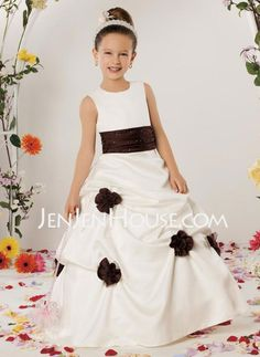 65f02e523f6  US  88.49  A-Line Princess Floor-length Flower Girl Dress - Satin  Sleeveless Scoop Neck With Sash Beading Flower(s) Sequins Pick Up Skirt -  JenJenHouse