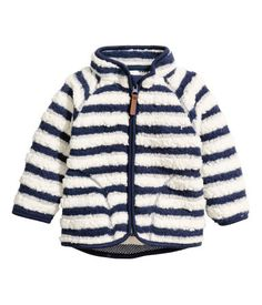 Dark blue/striped. Jacket in soft, thermal pile with a stand-up collar…