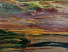 "Contemporary Landscape Artists International: Contemporary Landscape, Sunset Art Painting ""Sunset Reflections - Study #4"" by International Contemporary Artist Kimberly Conrad"