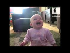 This Baby Girl Laugs Hysterically at her Dog Eating Popcorn. Sometimes babies laughs are so damn cute that even they can't help it! This baby girl thinks it is so hilarious when her father feeds the family dog popcorn she can't take it!    Whether it be their first step, first word or first wildly original dance move, toddletale is the channel tha...