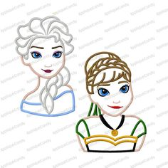 Frozen Snow Princess and Snow Queen Set Applique by AppliqueCandy Sewing Machine Embroidery, Applique Embroidery Designs, Embroidery Ideas, Frozen Pictures, Snow Queen, Elsa Olaf, Elsa Anna, Screen Printing, Needlework