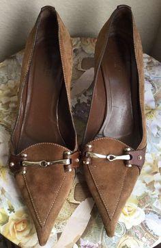 Gucci Brown Suede Slip on Horsebit Loafer Slip on Kitten Heels Size 8 5 | eBay