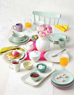 Ice blue... lavender... no matter which hue you choose, give your Mother's Day brunch the perfect pastel pop with Lenox's French Perle dinnerware collections.