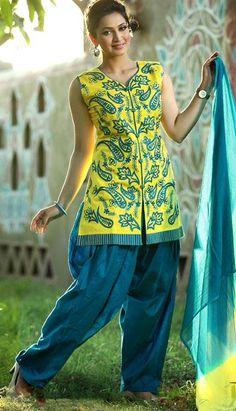 $63.7 Yellow and Blue Cotton Salwar Kameez 25611