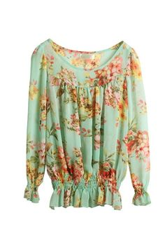 (TOLLS0773) Minty Floral Chiffon Blouse, iAnyWear