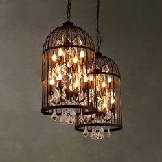 Iron+Crystal Rustic Bird Cage Pendant Lights Fixtures