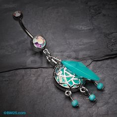 Opal Sparkle Dreamcatcher Belly Button Ring