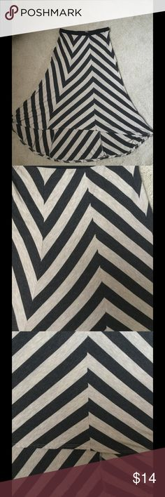 """Matty M asymetrical black gray stripe skirt . Good condition,no spots or rips . Waist 14"""" , length back 33"""" , front 25"""" . ❌Price firm Skirts Asymmetrical"""