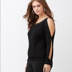 Embellished Cold Shoulder Sweater! NWT Size 22/24. Gorgeous embellished cold shoulder sweater! Brand new with tags. Rayon/nylon.   Smoke free, clean home. Lane Bryant Sweaters Crew & Scoop Necks