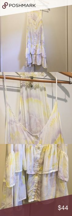 Free People Button Up Ruffle Floral Slip Dress Free People Button Up Ruffle Floral Slip Dress  * In excellent used condition.  * Fits comfortably as small or medium * Looks great as a cover up Free People Dresses