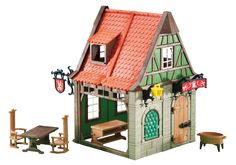 6463_product_detail Play Mobile, Casa Viking, Playmobil Sets, Lego Knights, Green Windows, Tailor Shop, Picnic Table, Legos, Vintage Toys