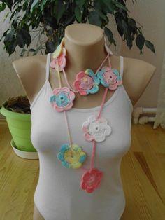 Crochet lariat scarf /crochet  rose lariat by redrosewholesaler #etsy #etsyfinds #etsygifts #etsyfashion
