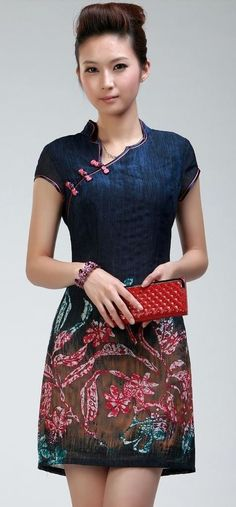 modern cheongsam More - pink and blue blouse, pink blouses and tops, ladies tie neck blouses *ad