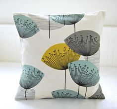 decorative pillow cover dandelion clocks teal grey mustard, dandelion cushion cover 18 inch on Etsy, $40.09 AUD