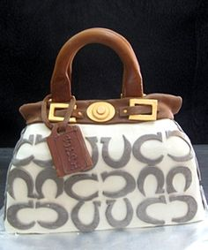 White coach cake... No way I'm skilled enough to make this but super cute for a purse party!