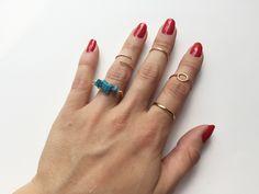 Lila & Sirena: DIY   Turquoise Beads Ring Tutorial anillo piedras turquesa y cadena