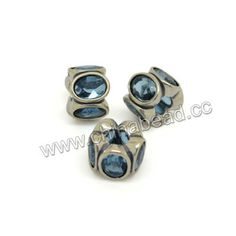 Metal beads, 925 sterling silver European bead in antique silver plating, Flower with light blue rhinestones, Approx 11.4x8.3mm, Hole: Approx 4.6mm, 10 pieces per bag, Sold by bags