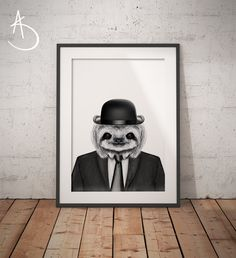 SLOTH IN SUIT Art Print, Sloth Printables, Sloth Print, Printable Sloth Art, Dapper Sloth, Sloth Art, Animals in Suits, Sloth in Suit Prints by AmberstoneDesign on Etsy Sloth Drawing, Stock Photo Websites, Black And White Printer, Nursery Letters, Photo Store, Typography Art, Etsy App, Minimalist Art, As You Like
