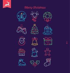 Christmas Icons in 3 different style by VectorBakery on @creativemarket