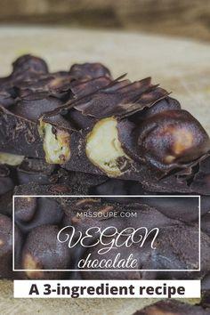 The most crunchy chocolate ever! No Sugar Desserts, 3 Ingredient Recipes, Vegan Chocolate, 3 Ingredients, Food, Sugar Free Desserts, Essen, Meals, Yemek