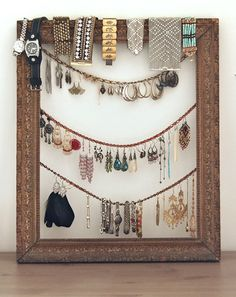 Unique Ideas Of DIY Jewelry Organizer (11 Images): DIY Jewelry Organizer Antique Frame2 ~ nidahspa.com General Inspiration