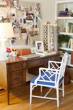 brown desk, white chair