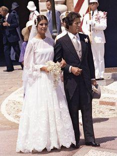 Caroline de Monaco no dia do seu 1º casamento - vestido de noiva, Leia de Star Wars