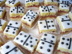 Domino Effect - White cake petit fours with a lime glaze and guava...adorable!