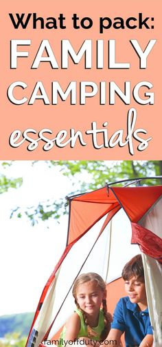 Family camping essentials, what essentials to pack for a camping trip with kids. Quick packing list with important item ideas to take on a road trip or camping trip with children. Includes tent, first aid and other camping products. Camping Essentials List, Camping Packing, Camping List, Camping Games, Diy Camping, Camping Checklist, Camping Activities, Camping With Kids, Camping Equipment