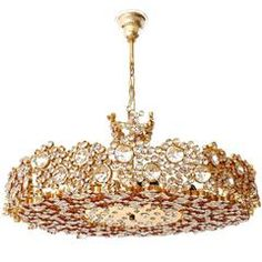 Large Palwa Chandelier or Pendant Light, Gilt Brass and Crystal Glass, 1970