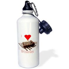 3dRose Print of I Love Brownies With Chocolate Syrup, Sports Water Bottle, 21oz