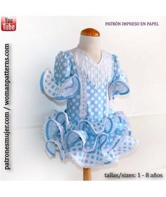 Flamenco dress girls pattern with tutorial video to learn how to do it. Little Girl Dresses, Little Girls, Girls Dresses, Baby Dresses, Kids Patterns, Sewing Patterns, Fair Outfits, Ruffle Blouse, Couture