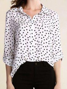 Zaful - Zaful Turn Down Collar Long Sleeve Full Heart Print Shirt - AdoreWe.com