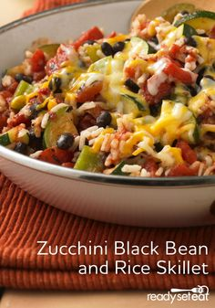 Zucchini, Black Bean and Rice Skillet (Skillet Squash Recipes) Recetas Zuchinni, Zuchinni Recipes, Mexican Food Recipes, Vegetarian Recipes, Cooking Recipes, Healthy Recipes, Shrimp Recipes, Bean Recipes, Vegetable Recipes