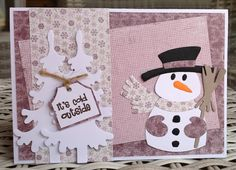 scrapcard girls: It's cold outside Scrapbook Pages, Scrapbooking, Marianne Design Cards, Christmas Wood Crafts, Snowmen, Christmas Cards, Packaging, Bows, School