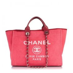 eb5d210478d1 CHANEL Canvas Large Deauville Tote Red ❤ liked on Polyvore featuring bags,  handbags, tote bags, zippered canvas tote, zippered tote bag, chanel tote,  ...