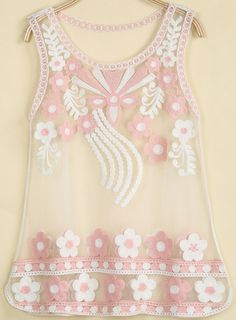 Pink Sleeveless Embroidered Sheer Mesh Yoke Vest pictures