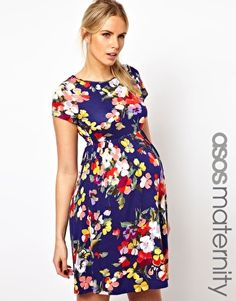 "ASOS Maternity Skater Dress In Floral Print - love everything about this dress, the length hits perfect (I'm 5'6"")"
