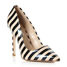 Dune striped heels. So smart, would really add the finishing touch to your outfit  #shoes #stripes #Dune